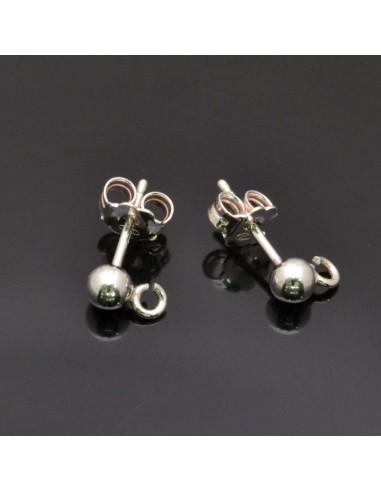 Base orecchini a perno con pallina 3 mm argento 925% 1 Paio