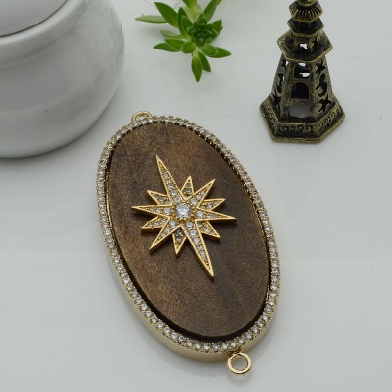 Elemento ovale oro con due anelli zirconi stella piastra legno antico ideare centro collana