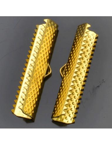 TERMINALI CAPICORDA oro  PER nastro 30  x7 mm  Bracciale collana orecchini
