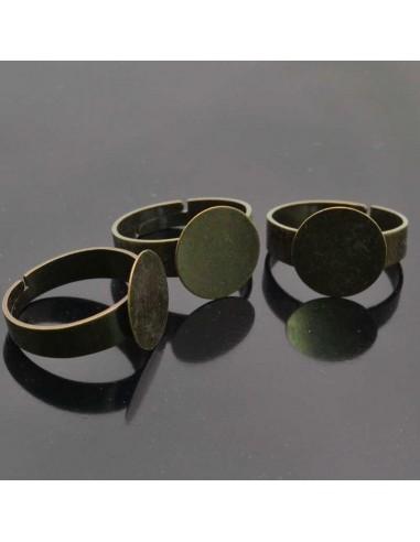 Basi per anello con piastra 12mm in ottone  Anello regolabile da decorare 5pz