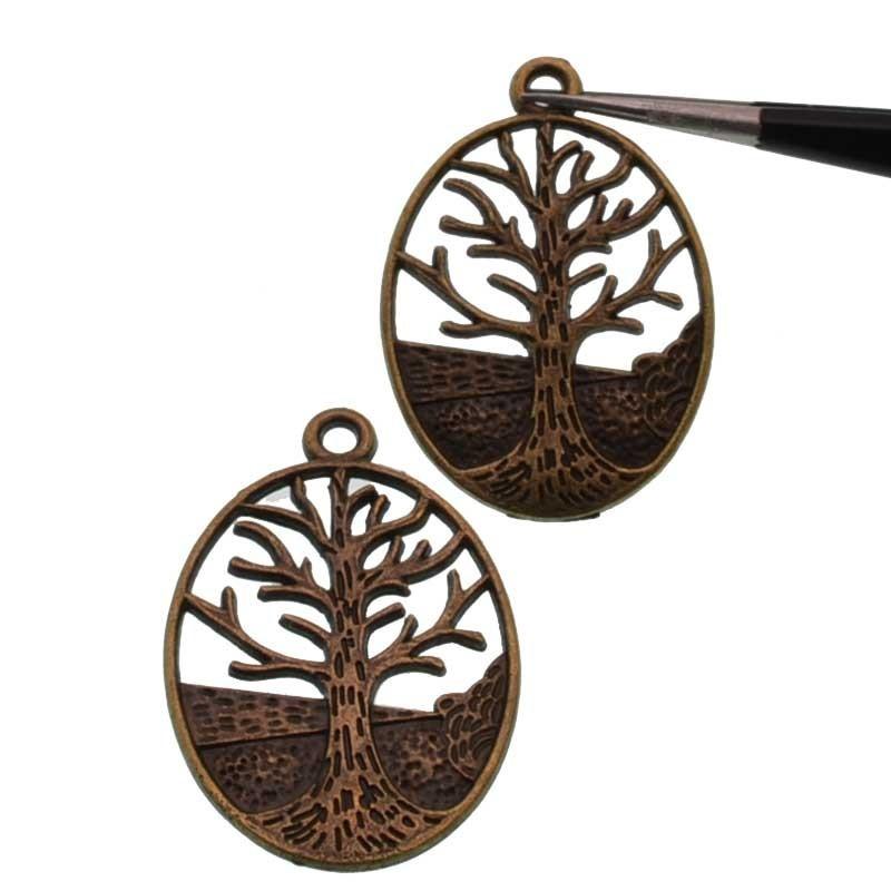 Pendenti albero della vita 24x30mm in metallo colore bronzo 2 pz