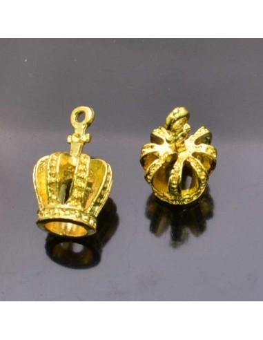 ciondolo corona PENDENTE charms corona oro 12x22 mm 2pz per bigiotteria